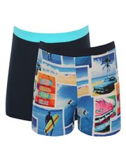 Surf photo print and plain swim trunks two pack