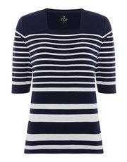TIGI striped square neck top