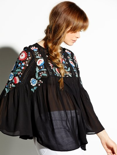 Floral embroidered sheer tunic top