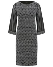 Zig zag sheer sleeve tunic dress