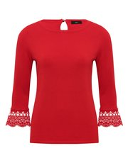 Lace flute sleeve jumper