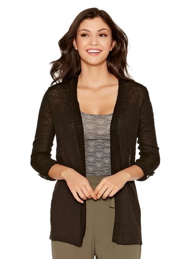 Edge to edge linen blend cardigan