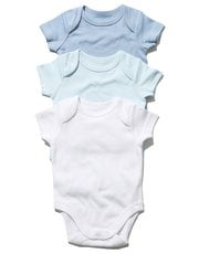 Blue short sleeved bodysuits three pack