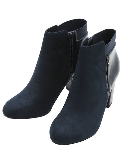 Elastic and zip ankle boot