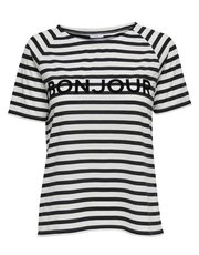 Jdy stripe print Parisian slogan top