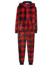 Check hooded fleece onesie