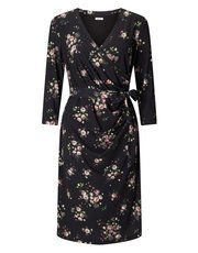 Precis Petite spot and rose wrap dress