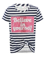 Two way sequin stripe t-shirt