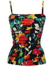 Floral print tummy control multiway tankini top