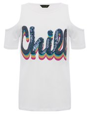Chill slogan cold shoulder top