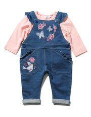 Embroidered dungarees and top set