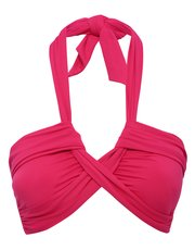 Plain pink halter neck twist bikini top
