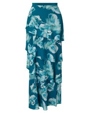 Jacques Vert printed tiered maxi skirt