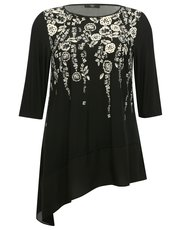 Plus floral border tunic top