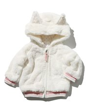 Faux fur 3D ear hooded  fleece