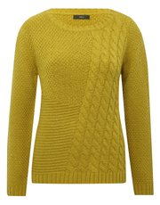 Asymmetric cable knit jumper