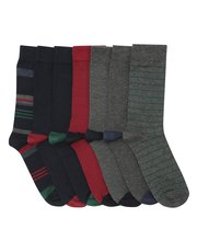 Stripe and plain socks seven pack