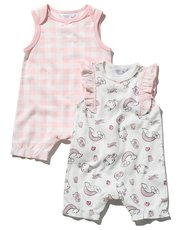 Bunny print and check frill romper two pack