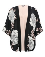 Plus floral print kimono and top