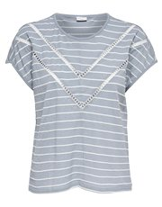 JDY crochet lace stripe print top