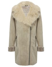 Faux shearling collar coat