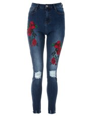 Quiz rose embroidered ripped skinny jeans