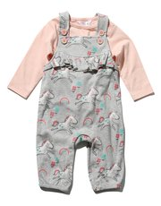 Unicorn print dungarees and top set