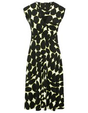 Ikat print fit and flare dress