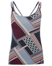 Patchwork print cami top