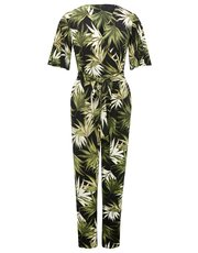 Palm print wrap jumpsuit