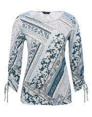 Tie sleeve patchwork print top
