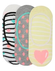 Teens' heart footlet socks three pack