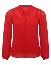 Petite dobby spot red blouse