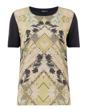 TIGI printed front scattered diamante top