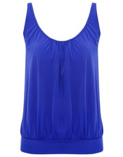 Plain blue blouson tankini top