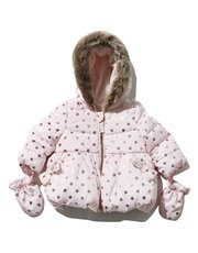 Foil spot print padded hooded jacket