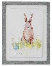 Rabbit print canvas in frame