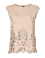 Roman Originals art deco glitter print top