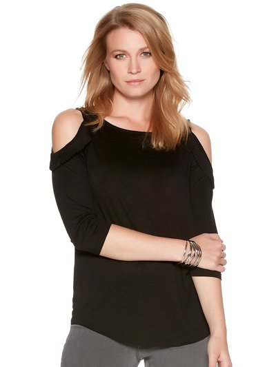 Petite pleated cold shoulder top