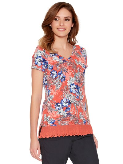 Tropical lace trim t-shirt