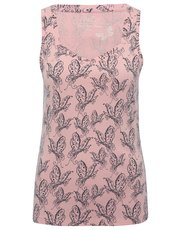Butterfly print diamond neck vest top