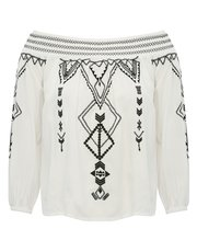 Petite embroidered bardot peasant top
