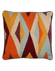 Geo embroidered cushion