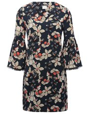 Floral print flute sleeve shift dress