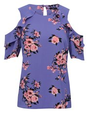 Floral print cold shoulder ruffle top