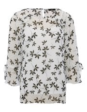 Floral tie sleeve dobby blouse
