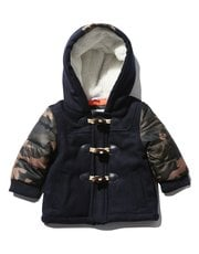 Camouflage sleeve hooded duffle coat