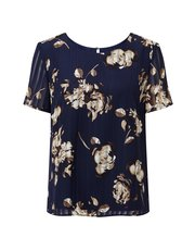 Eastex linear floral print shell top