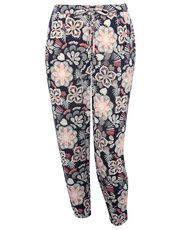 Plus floral cheesecloth trousers