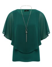 Chiffon layer top with necklace
